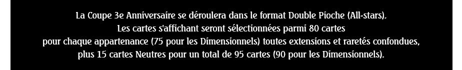 La Coupe 3e Anniversaire se déroulera dans le format Double Pioche (All-stars). Les cartes s'affichant seront sélectionnées parmi 80 cartes pour chaque appartenance (75 pour les Dimensionnels) toutes extensions et raretés confondues, plus 15 cartes Neutres pour un total de 95 cartes (90 pour les Dimensionnels).